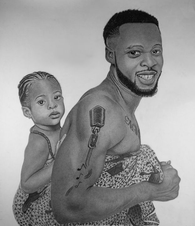 """Drawing titled """"motherly father"""" by Ajadudraws, Original Art, Pencil Mounted on Stretcher frame"""