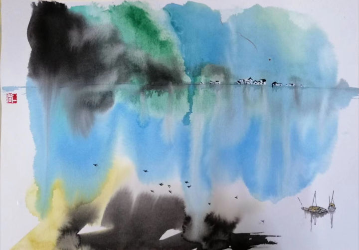 """Painting titled """"The river"""" by Aj Art, Original Art, Watercolor"""