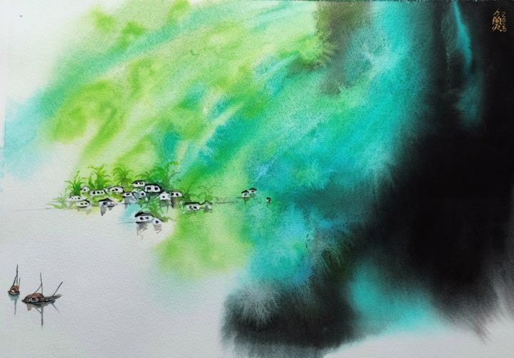 """Painting titled """"The water town II"""" by Aj Art, Original Art, Watercolor"""