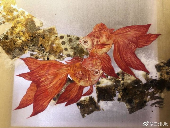 """Painting titled """"赤"""" by 洲 白, Original Art, Pigments"""