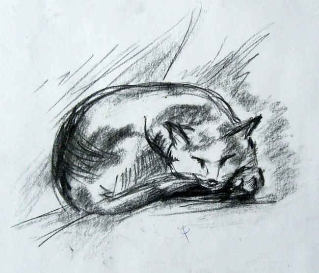 Painting,  20 x 25 cm ©2005 by ajminas -  Painting, Cat sketch
