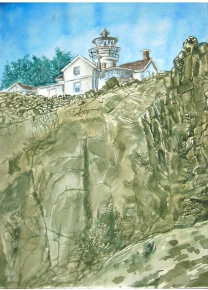 """Painting titled """"House On Hill"""" by Akber Sami, Original Art,"""