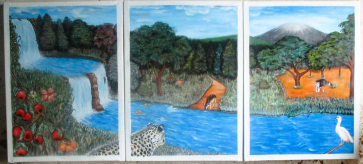 """Painting titled """"Belle nature"""" by Akida Amos (AKAM), Original Art, Oil"""