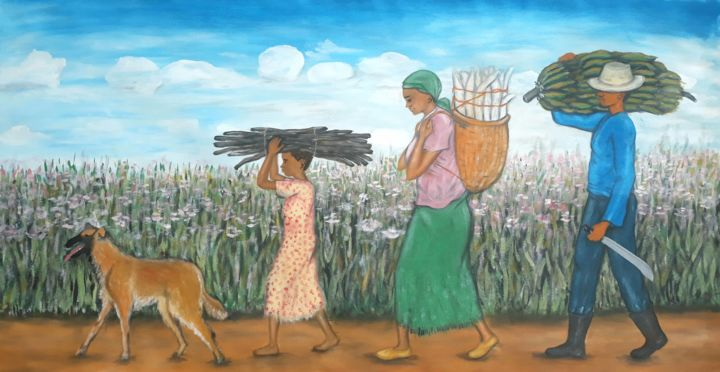 """Painting titled """"Une grande famille"""" by Akida Amos (AKAM), Original Art, Oil"""