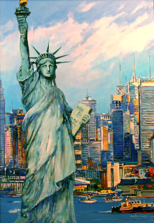 New York, Statue of Liberty - Peinture,  39,4x27,6x0,8 in, ©2018 par Piotr Rembielinski -                                                                                                                                                                                                                                                                                                                                                                                                                                                                                                                                                                                          Impressionism, impressionism-603, Villes, Paysage urbain, Architecture, cities, people, New York, street, city, architecture, view ot the town