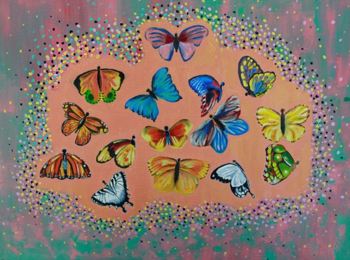 butterfly frenzy - Painting,  18x24x0.1 in ©2018 by akshatha -                                                                                    Conceptual Art, Contemporary painting, Canvas, Other, Nature, Orange, yellow, pink, butterfly, colorful, green, red, blue, nature, insect