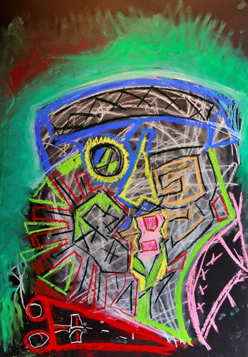 """Drawing titled """"""""Boy with hat"""""""" by Alexander Bijev, Original Art, Pastel"""