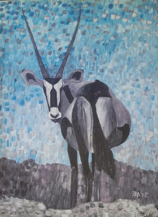 Oryx - Painting,  51x38 in, ©1984 by ALAIN BAYE -