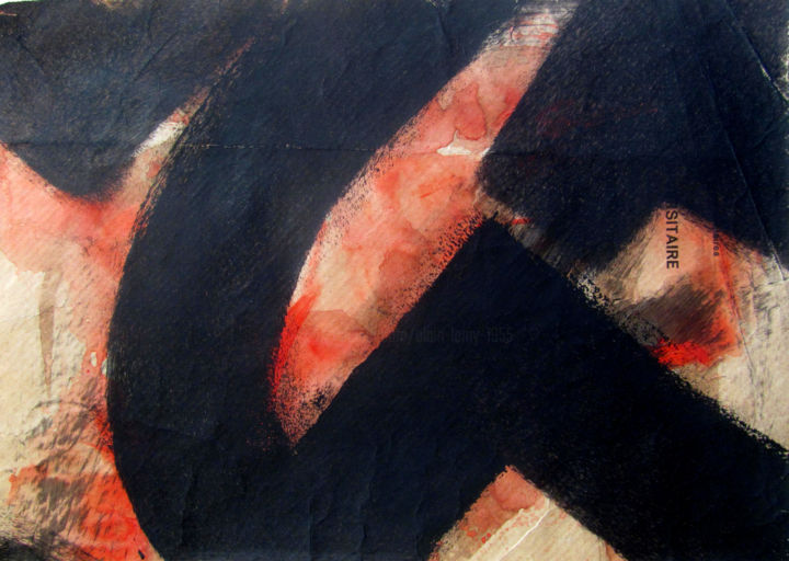 AURORE ROUGE 3 - Printmaking,  6.3x8.9 in, ©2020 by ALAIN LAMY -                                                                                                                                                                                                                                                                                                                                                              Abstract, abstract-570, Abstract Art, monotype, gouache, papier, abstrait