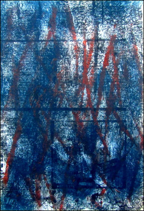 Monotype N°3 - Printmaking,  9.5x6.7 in, ©2020 by Alain Lamy -                                                                                                                                                                          Abstract, abstract-570, Abstract Art