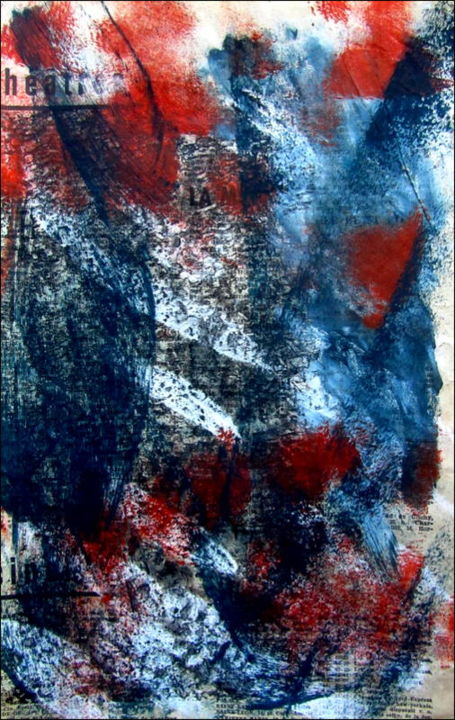 Monotype N°4 - Printmaking,  11.4x7.1 in, ©2020 by Alain Lamy -                                                                                                                                                                          Abstract, abstract-570, Abstract Art