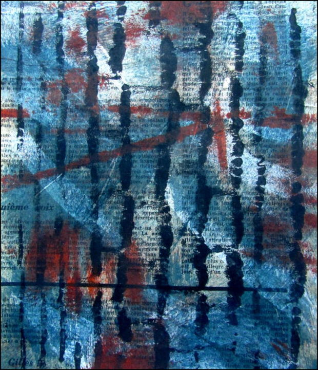 Monotype N°5 - Printmaking,  8.7x7.1 in, ©2020 by Alain Lamy -                                                                                                                                                                          Abstract, abstract-570, Abstract Art