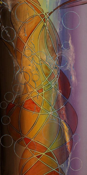 abstract-vague-spleen.jpg - Painting,  39.4x19.7x0.2 in, ©2017 by Alain Yerly -                                                                                                                                                                                                                                                                                                                  Abstract, abstract-570, Love / Romance, Abstract Art, Outer Space, spleen