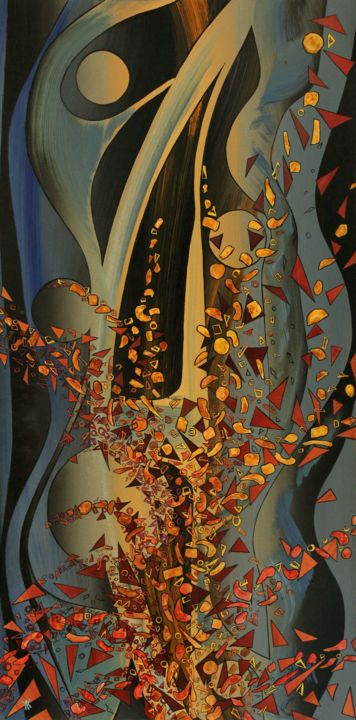 forest.jpg - Painting,  39.4x19.7x0.2 in, ©2019 by Alain Yerly -                                                                                                                                                                                                                      Abstract, abstract-570, Abstract Art, Fantasy