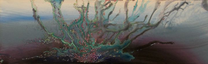 Aquaticus tenebras - Peinture,  9,7x31,5x0,2 in, ©2020 par Alain Yerly -                                                                                                                                                                                                                          Abstract, abstract-570, Art abstrait, Abysse