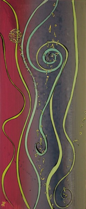 Capucine - Peinture,  23,6x9,8x0,2 in, ©2020 par Alain Yerly -                                                                                                                                                                          Abstract, abstract-570, Art abstrait