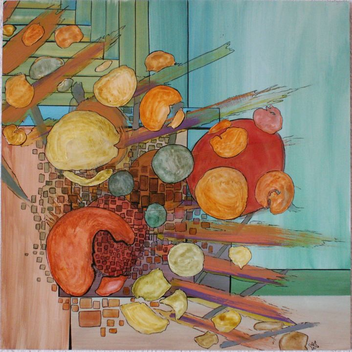 corbeille-fruits.jpg - Painting,  19.7x19.7 in, ©2014 by Alain Yerly -                                                                                                                                                                                                                          Abstract, abstract-570, Abstract Art, fruits