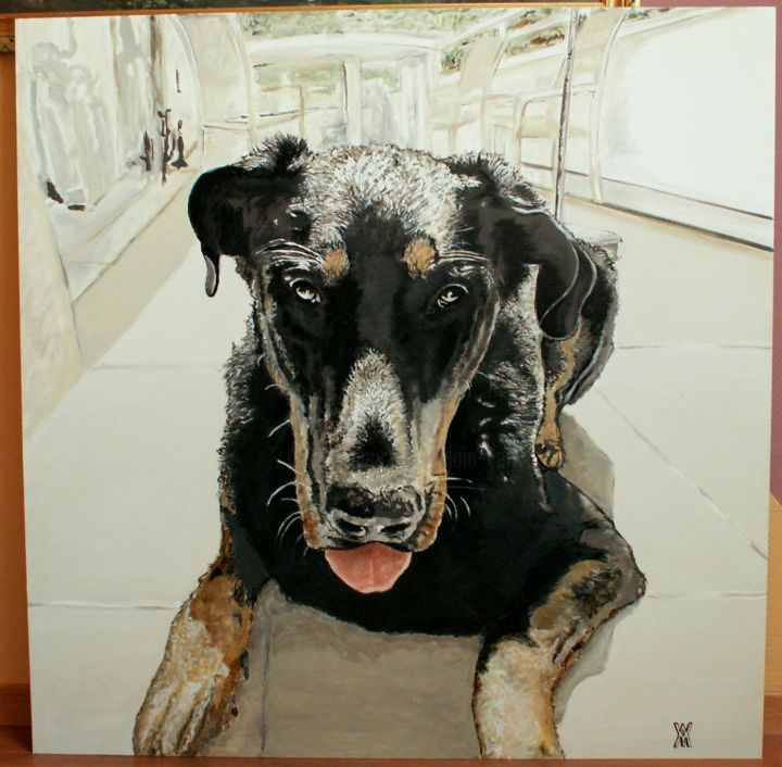 chien1.jpg - Painting,  39.4x39.4 in, ©2012 by Alain Yerly -                                                                                                                                                                                                                          Figurative, figurative-594, Animals, cache cache