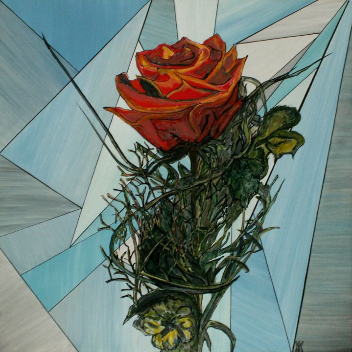 rose07.jpg - Painting,  19.7x19.7x0.2 in, ©2013 by Alain Yerly -                                                                                                                                                                                                                                                                      Abstract, abstract-570, Abstract Art, Flower, rose