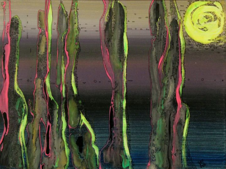 cactus-iradiant.jpg - Painting,  11.8x15.8x0.2 in, ©2016 by Alain Yerly -                                                                                                                                                                                                                                                                                                                                                              Abstract, abstract-570, Abstract Art, Dark-Fantasy, Science-fiction, cactus, hybrid