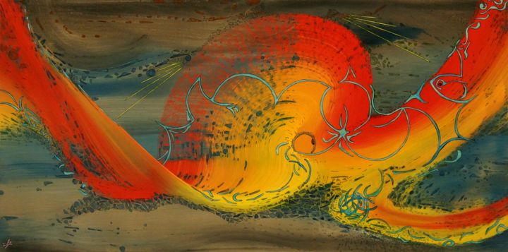 calypso.jpg - Painting,  50x100x0.5 cm ©2017 by Alain Yerly -                                                                                                Abstract Art, Conceptual Art, Wood, Animals, Abstract Art, Colors, tentaculaire