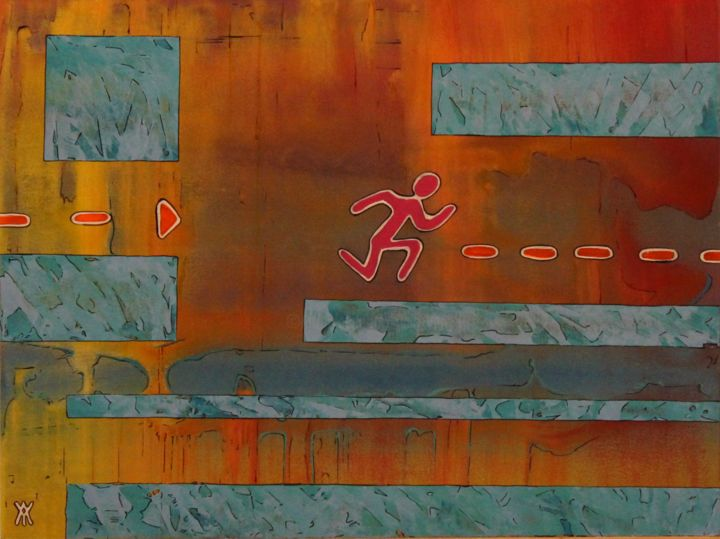 course-jeux-de-plateaux.jpg - Painting,  11.8x15.8x0.2 in, ©2017 by Alain Yerly -                                                                                                                                                                                                                                                                                                                  Outsider Art, outsider-art-1044, Colors, Dark-Fantasy, Heroic-Fantasy, Game