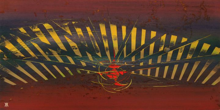 ligth-residuel.jpg - Painting,  50x100x0.5 cm ©2017 by Alain Yerly -                                                                                                            Outsider Art, Abstract Art, Conceptual Art, Wood, Abstract Art, Fantasy, Science-fiction, Esprit