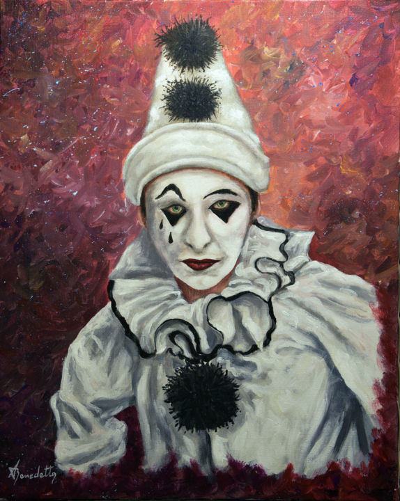 Pierrot - Painting,  70x50x2 cm ©2018 by Alain Benedetto -