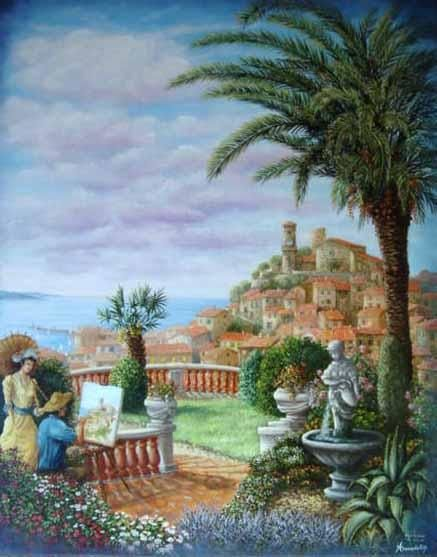 cannes le suquet - Painting,  36.2x28.7 in, ©2004 by Alain Benedetto -