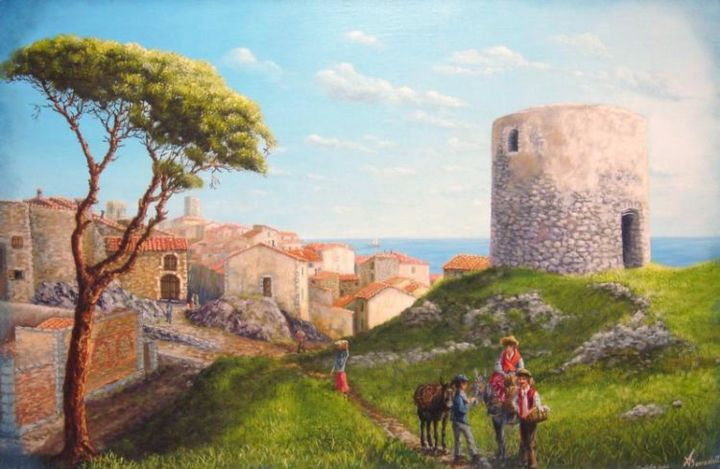 antibes la vielle tour - Painting,  25.6x36.2 in, ©2004 by Alain Benedetto -