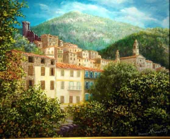 luceram - Painting,  61x50 cm ©2004 by Alain Benedetto -