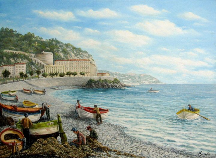 les ponchettes - Painting,  100x81 cm ©2004 by Alain Benedetto -