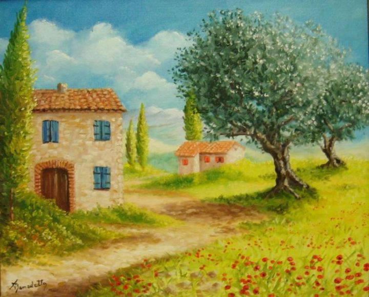 provence - Painting,  55x46 cm ©2004 by Alain Benedetto -
