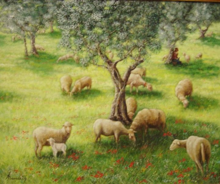 moutons - Painting,  65x54 cm ©2004 by Alain Benedetto -