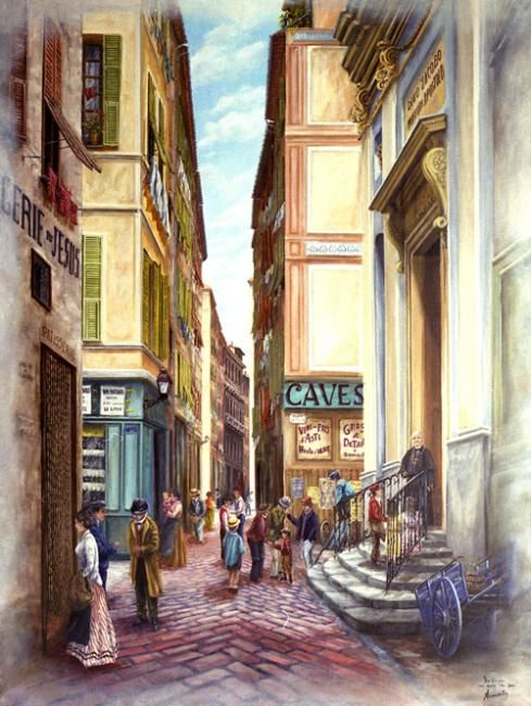 le gesu rue droite - Painting,  116x89 cm ©2008 by Alain Benedetto -