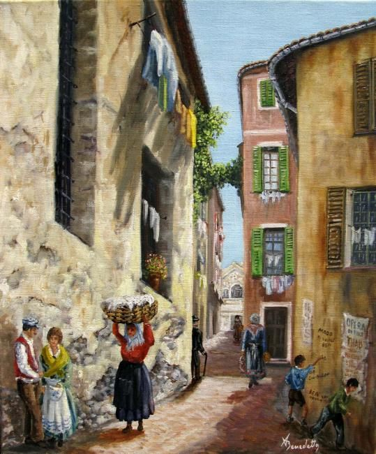 rue de la providence - Painting,  21.7x18.1 in, ©2010 by Alain Benedetto -                                                                                                                                                                          Figurative, figurative-594, vieux nice jadis