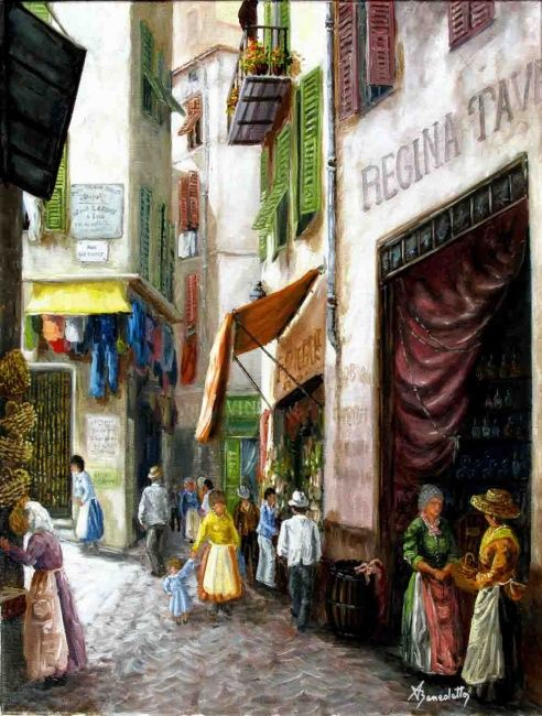 rue st françois - Painting,  21.7x18.1 in, ©2010 by Alain Benedetto -                                                                                                                          Figurative, figurative-594