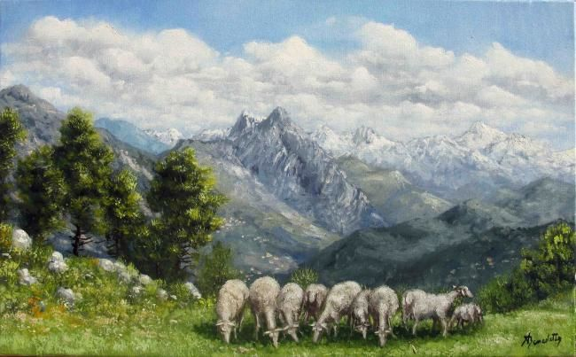 moutons - Painting,  55x33 cm ©2010 by Alain Benedetto -                            Realism, moutons en pature