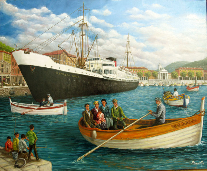 "port de Nice jadis ""le passagin"" - Painting,  31.9x39.4 in, ©2016 by Alain Benedetto -                                                                                                                                                                          Figurative, figurative-594, Ships"