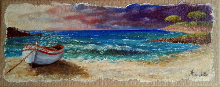 marine - Painting,  20x50 cm ©2016 by Alain Benedetto -                                                        Figurative Art, Canvas, Seascape