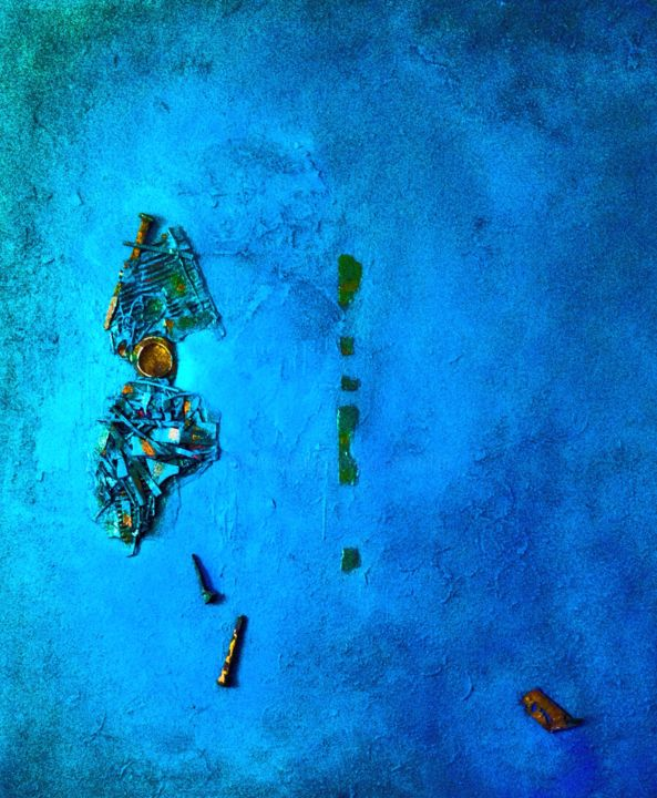 Chutes - Painting,  120x60 cm ©2018 by Alain Bouillot -