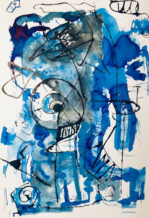 ligne Bleue 2 - Printmaking,  60x40 cm ©2019 by Alain Bouillot -                                        Abstract Art, Paper