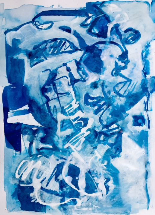 ligne Bleue 3 - Printmaking,  40x30 cm ©2019 by Alain Bouillot -                                        Abstract Art, Paper