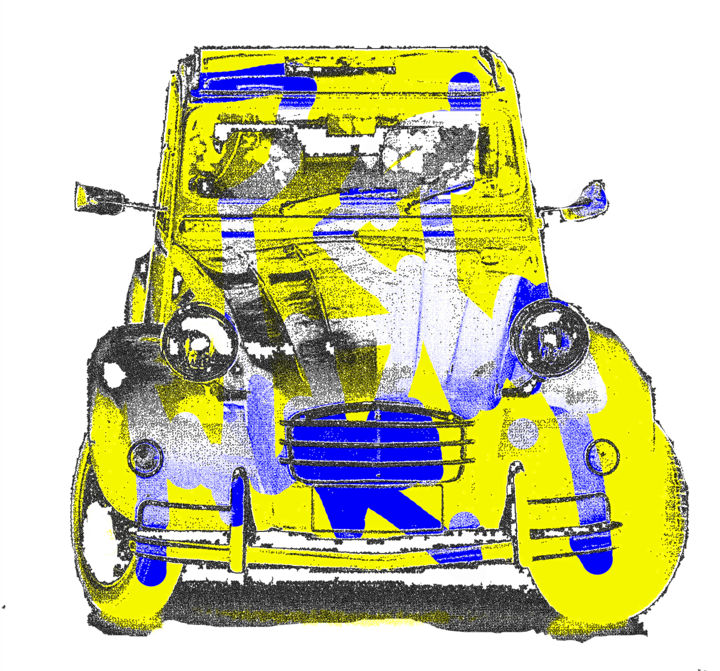 2cv.jpg - Mixed Media,  80x80x0.3 cm ©2018 by alainDe -                                                        Pop Art, Aluminum, Car