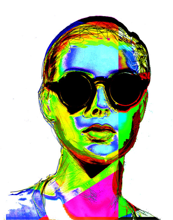 with-glasses.jpg - Mixed Media,  90x60x0.6 cm ©2019 by alainDe -                                                        Expressionism, Aluminum, Women