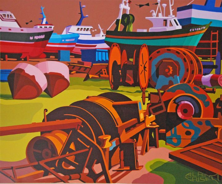 Les vieux diesels - Painting,  60x72x2 cm ©2010 by Alain Grisel -                                                                                                                                                                                    Figurative Art, Canvas, Boat, Colors, Business, Geometric, Places, Light, Motor, Ships, Seascape, People, Fish, peinture, huile, extra, fine, chantier, naval, peche, vieux, diesels, ciel, orage, bareauxde peche, soleil, ombres, lumiere, contraste, rouille, geometrique, lieu, paysage marin, moteurs, diesel, entreprise, bouees, fer