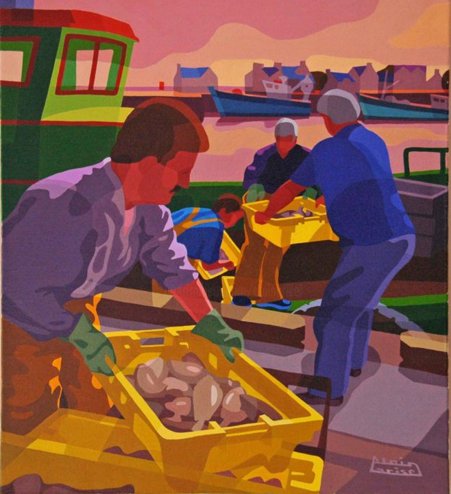 Débarquement de la pêche - Painting,  50x56x2 cm ©2003 by Alain Grisel -                                                                                                                                                                                                                                                Figurative Art, Canvas, Boat, Men, Angels, Animals, Performing Arts, Body, Colors, Cartoon, Water, Business, Geometric, Light, Ships, Seascape, People, Fish, Huile, toile, pecheurs, chalutier, poissons, port, mer, casiers, dechargement, Lesconil, couleurs, jaune, bleu, rose, paysage, , marins