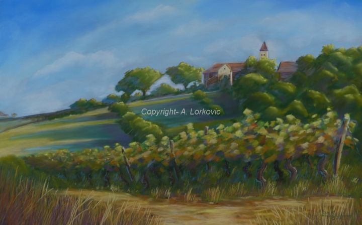 Promesses.jpg - Painting,  38x60 cm ©2014 by Alain LORKOVIC -                            Contemporary painting, pastel, vigne, vin, village, clocher, sous verre, cadre