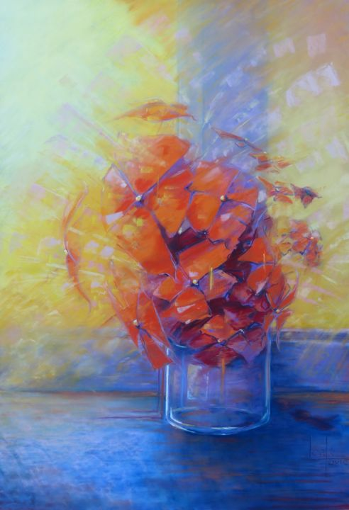 opale-modifiee.jpg - Painting,  72x52 cm ©2016 by Alain LORKOVIC -                                            Realism, Flower, Opale, contemporain, fleur, imaginaire, orange, vase, fenêtre, violet, bouquet, cubisme, bouquet de fleur, fleurs, oranges, vases, fenêtres