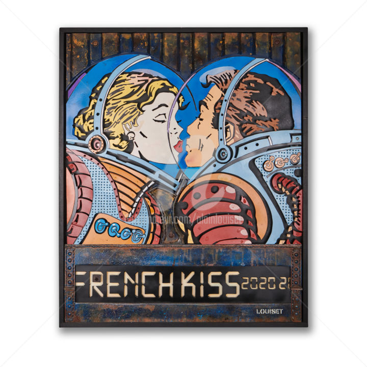 """Sculpture titled """"French Kiss 3"""" by Alain Louiset, Original Art, Plastic Mounted on Wood Panel"""